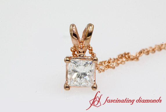 0.25 Ct. Princess Cut Diamond Pendant In Rose Gold