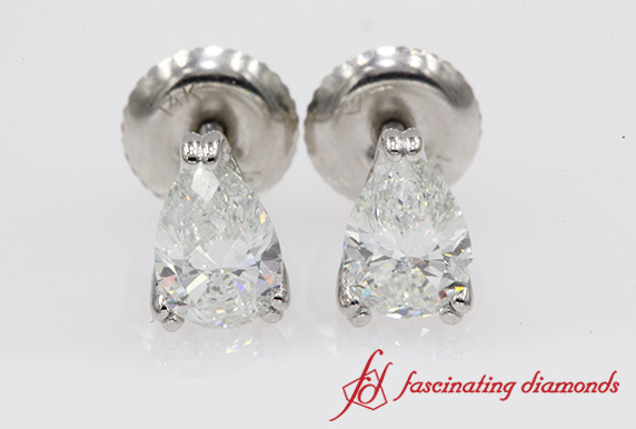 Pear 1 Carat Diamond Stud Earring