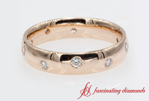 Classic Dome Diamond Comfort Fit Rose Gold Wedding Band