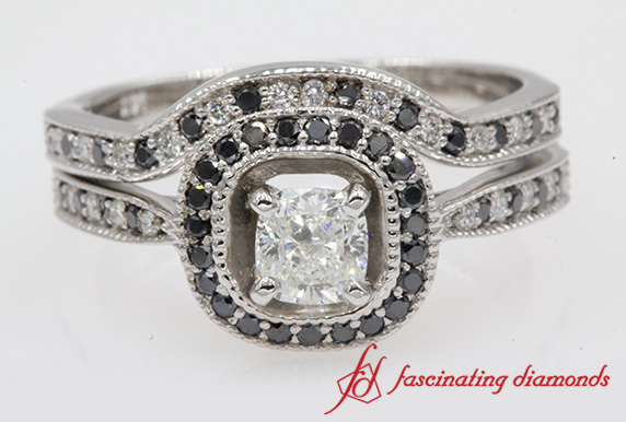 Cushion Black Diamond Halo Bridal Set