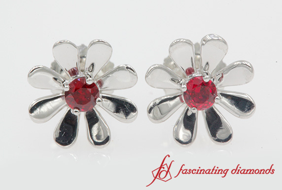 Platinum Flower Ruby Stud Earring