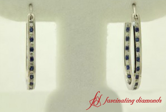 Diamond Hoop Earring With Sapphire In White Gold