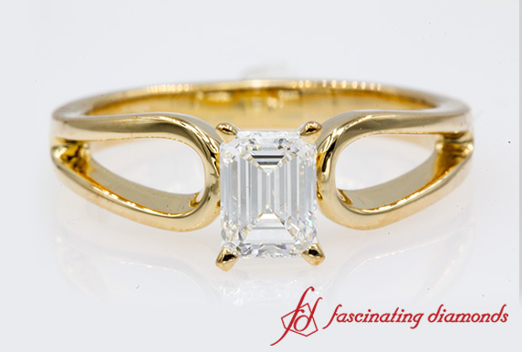 Emerald Cut Loop Solitaire Engagement Ring In Yellow Gold