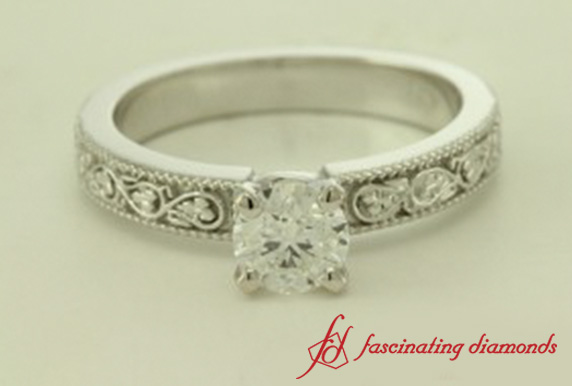 Filigree Round Cut Solitaire Engagement Ring In White Gold