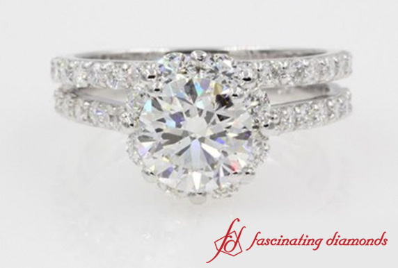 Halo Diamond Wedding Set In White Gold