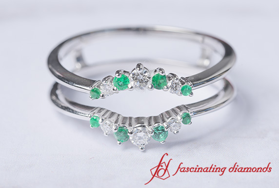 Emerald Graduated Diamond Ring Guard