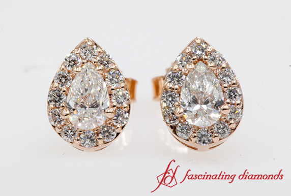 Halo Pear Diamond Earrings
