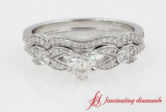 Pave Diamond Antique Ring Set