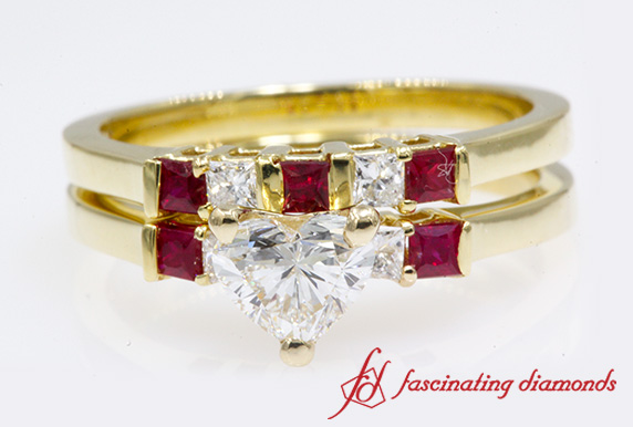 Heart Diamond Bridal Set With Ruby