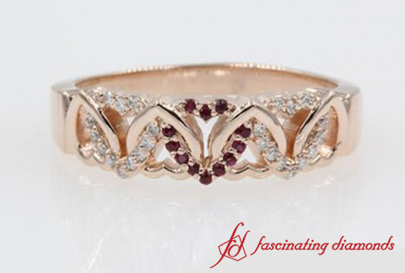 Heart Interlocked Wide Diamond Band With Ruby