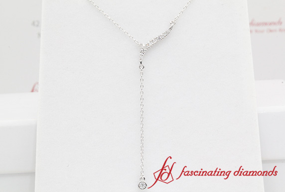 Long Chain Drop Diamond Pendant