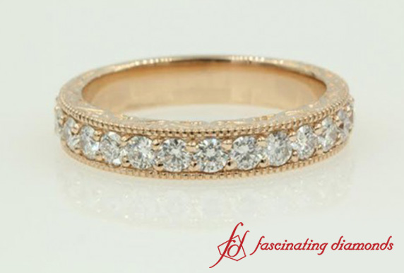 Rose Gold Milgrain Diamond Band
