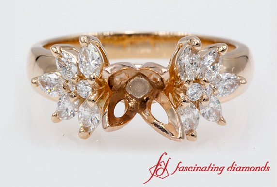 Nature Inspired Engagement Ring Setting In 18k Rose Gold-FD12655R