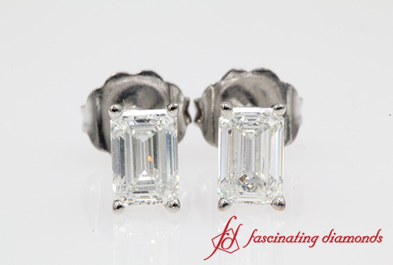 Emerald Cut Stud Earring