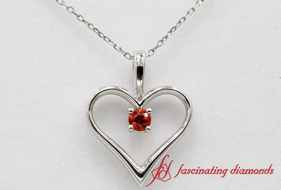 Open Heart Solitaire Orange Sapphire Pendant