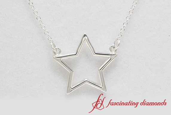 Open Star Fancy Pendant In Sterling Silver