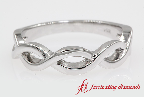 Plain Infinity Band In White Gold