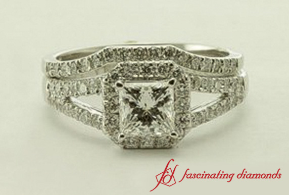 Princess Cut Split Halo Wedding Set