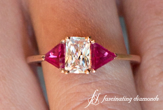 Radiant Engagement Ring With Pink Sapphire
