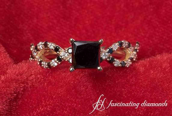 Reverse Split Black Diamond Ring