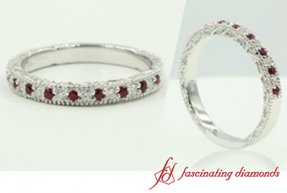 Round Ruby Wedding Band