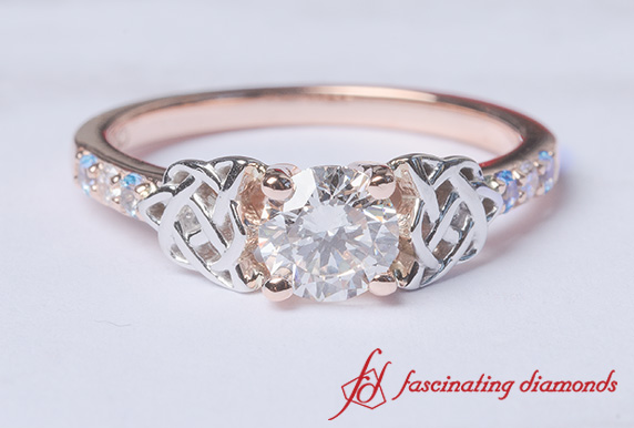 Round Diamond Celtic Wedding Ring
