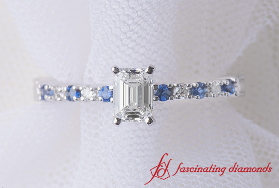 Sapphire Petite Emerald Cut Wedding Ring