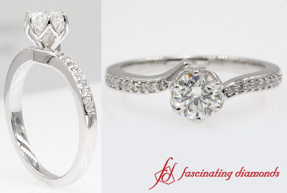Floral Engagement Ring In White Gold