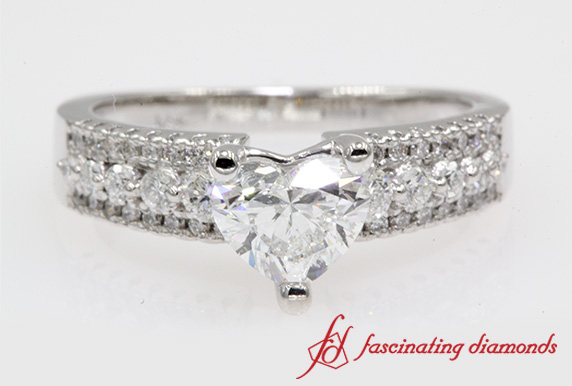 Triple Row Heart Diamond Wedding Ring In White Gold