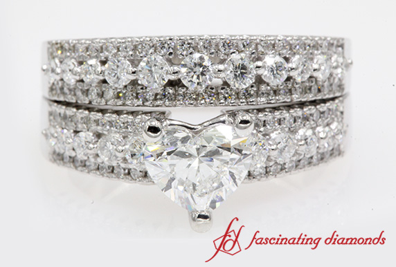 Triple Row Heart Diamond Wedding Set