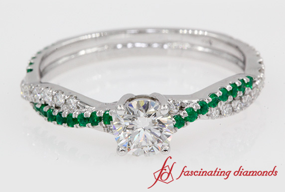 Twisted Engagement Ring With Emerald