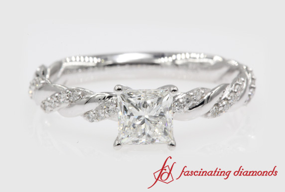Princess Cut Twisted Ring