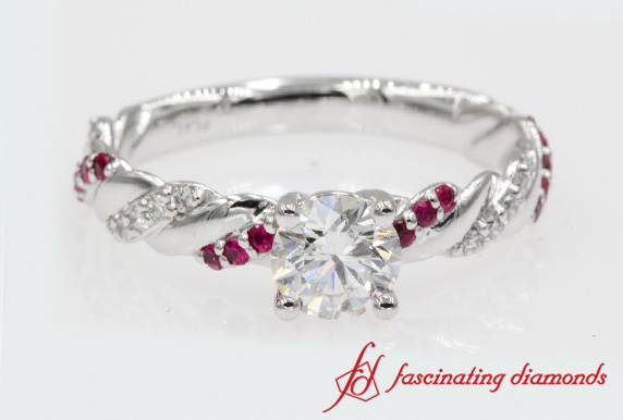 0.75 Carat Diamond Rope Engagement Ring With Ruby In 950 Platinum