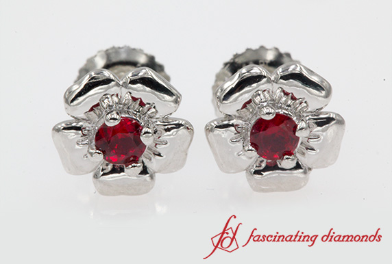 Platinum Ruby Flower Earring