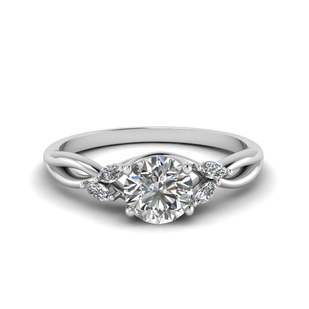 Marquise Diamond Promise Ring Band In 14k White Gold