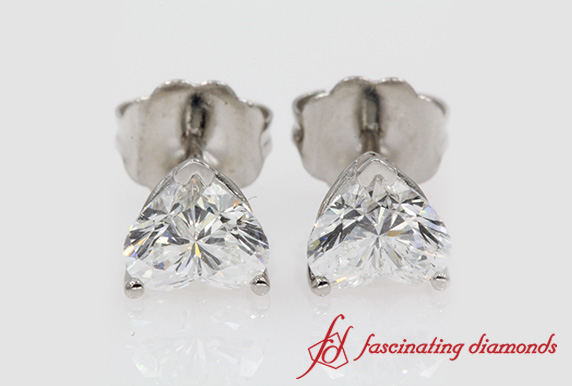 1 Carat Heart Diamond Stud Earring In White Gold