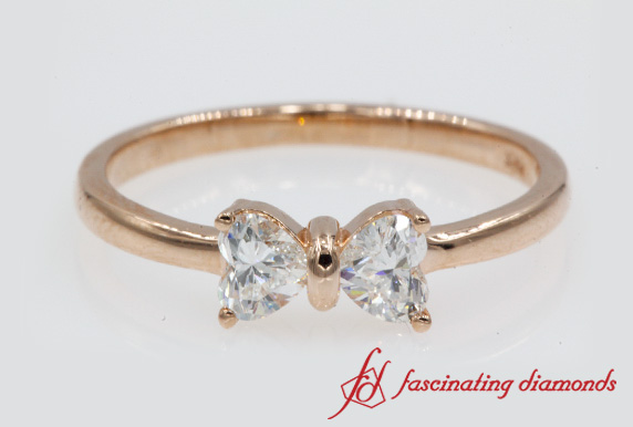 2 Heart Shaped Bow Diamond Ring