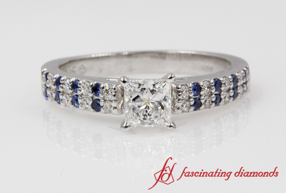 2 Row Princess Cut Diamond Ring