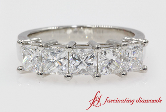 Princess Cut Five Stone Band