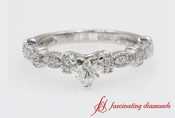 Art Deco Milgrain Pave Engagement Ring