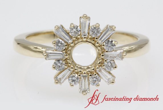 Baguette Sunrays Design Engagement Ring