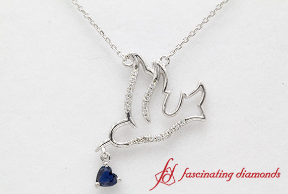 Beautiful Bird Pendant With Sapphire In White Gold