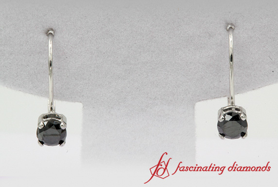 White Gold Black Diamond Earring