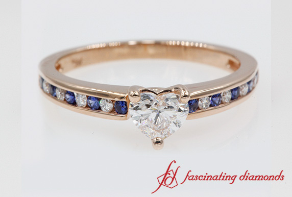 Channel Set Heart Cut Engagement Ring