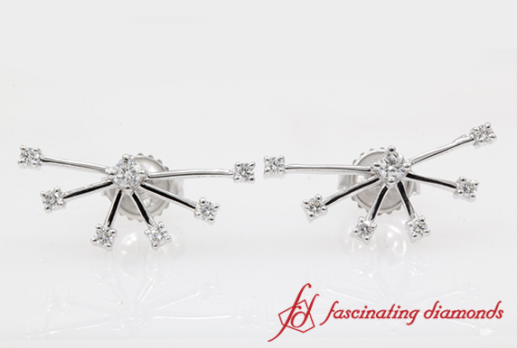 White Gold Diamond Stud Earring