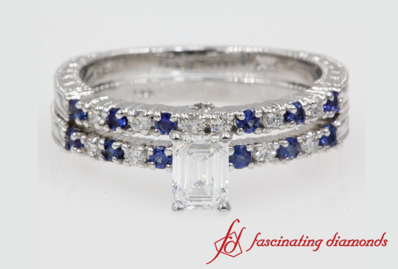 Emerald Cut Vintage Wedding Set With Sapphire