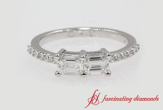 Emerald Cut Simple Two Stone Ring