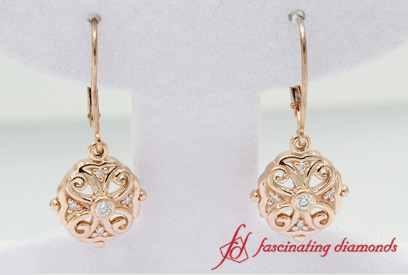 Rose Gold Filigree Diamond Earring