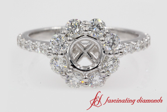 Flower Halo Diamond Engagement Ring Settings In White Gold-FD122092R