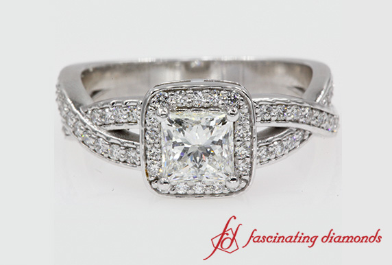 Halo Entwined Princess Cut Ring